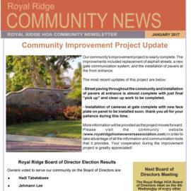 Royal Ridge HOA January 2017 Newsletter
